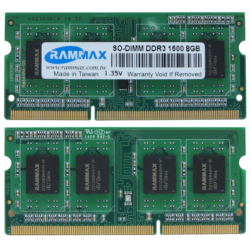 RAMMAX DDR3 1600Mhz 8GB SO-DIMM RAM (set of 2)